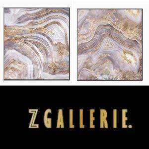 BNWOT Z GALLERIE 2pc gallery wrapped geode artwork